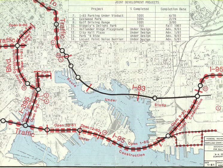 Baltimore Harbor Interstate System Map on interstate 14 texas,
