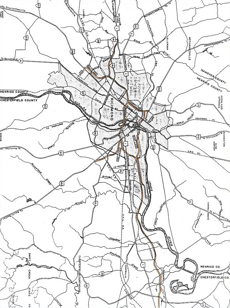 Richmond Interstates And Expressways