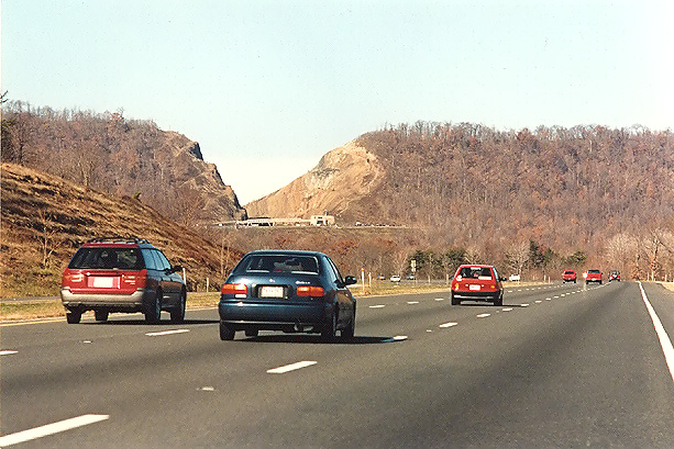 Above Westbound On I 68 National Freeway Approaching The Sideling Hill Cut Notice The Overpass And Visitor Center Right In Front Of The Cut