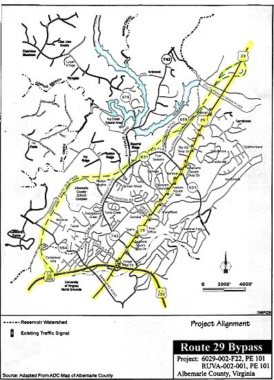 map from route 29 byp draft supplemental environmental impact statement albemarle county and the city of charlottesville handout sheet from the