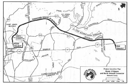 map from the design public hearing brochure from vdot s design public hearing on february 25 1997