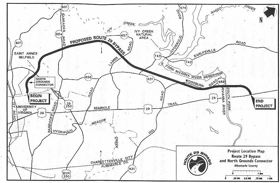 US Charlottesville Bypass - Us route 29 map